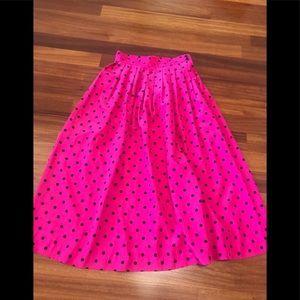 Vintage pink and black polka dot skirt